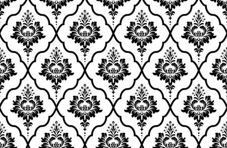 Wallpaper in the style of Baroque. Seamless background. White and black floral ornament. Graphic pattern for fabric, wallpaper, packaging. Ornate Damask flower ornament 스톡 콘텐츠