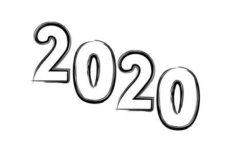 New Year illustration. 2020 year. Simple design of numbers on a white background. 스톡 콘텐츠