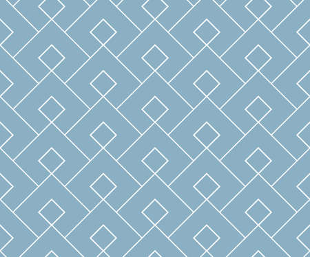 The geometric pattern with lines. Seamless vector background. White and blue texture. Graphic modern pattern. Simple lattice graphic design Ilustração