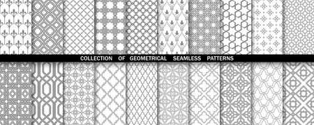 Geometric collection of gray and white patterns. Seamless vector backgrounds. Simple graphics.