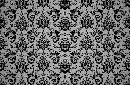 Wallpaper in the style of Baroque. Seamless vector background. Black and gray floral ornament. Graphic pattern for fabric, wallpaper, packaging. Ornate Damask flower ornament 일러스트