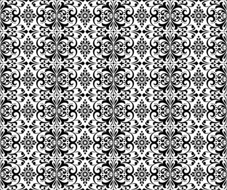 Wallpaper in the style of Baroque. Seamless background. White and black floral ornament. Graphic pattern for fabric, wallpaper, packaging. Ornate Damask flower ornament Ilustrace