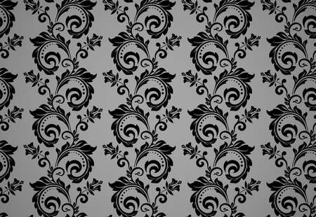 Floral pattern. Vintage wallpaper in the Baroque style. Seamless background. Black and gray ornament for fabric, wallpaper, packaging. Ornate Damask flower ornament Ilustrace