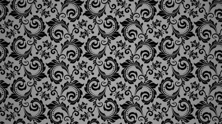 Wallpaper in the style of Baroque. Seamless background. Black and gray floral ornament. Graphic pattern for fabric, wallpaper, packaging. Ornate Damask flower ornament Ilustrace