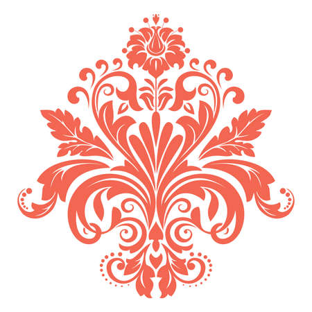 Damask graphic ornament. Floral design element. Pink  pattern