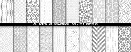 Geometric set of seamless gray and white patterns. Simple  graphics.