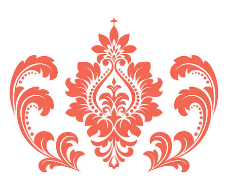 Damask graphic ornament. Floral design element. Pink pattern Ilustrace