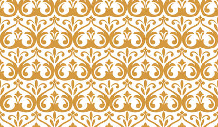 Wallpaper in the style of Baroque. Seamless background. White and gold floral ornament.