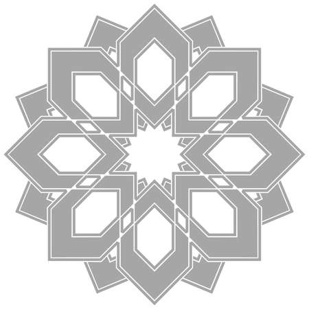 Decorative element for design in Eastern style, place for text. Geometric gray border.