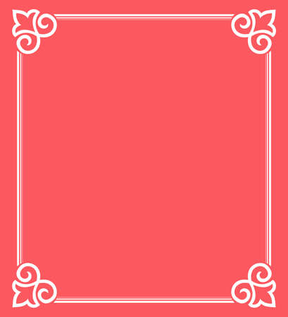 Decorative frame Elegant element for design in Eastern style, place for text. Floral pink border. Lace illustration for invitations and greeting cards