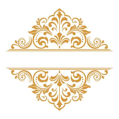 Vintage gold element. Graphic vector design. Damask graphic ornament.
