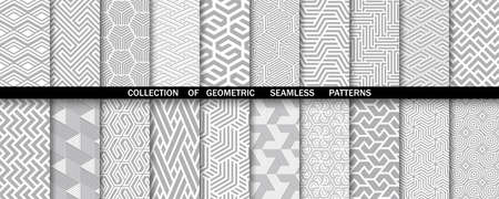 Geometric set of seamless gray and white patterns. Simple vector graphics. 向量圖像