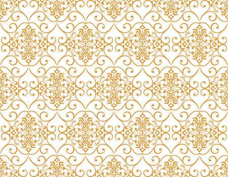 Wallpaper in the style of Baroque. Seamless background. White and gold floral ornament. Graphic pattern for fabric, wallpaper, packaging. Ornate Damask flower ornament Stok Fotoğraf