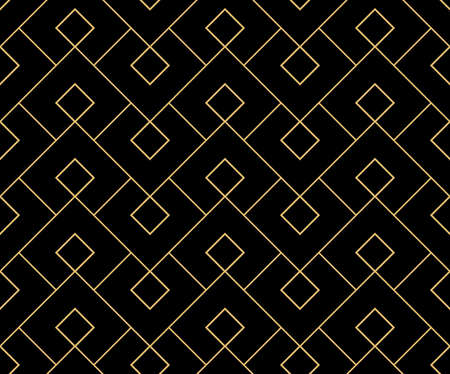 Abstract geometric pattern. A seamless background. Gold and black ornament. Graphic modern pattern. Simple lattice graphic design Stok Fotoğraf