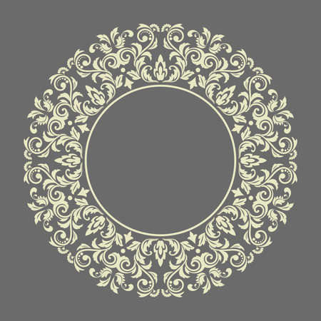 Decorative frame Elegant element for design in Eastern style, place for text. Floral gray border. Lace illustration for invitations and greeting cards Stok Fotoğraf