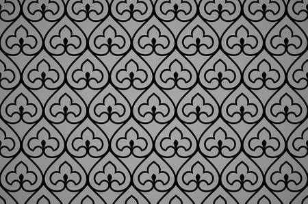 Flower geometric pattern. Seamless background. Black ornament Stok Fotoğraf