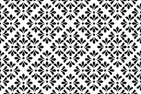 Flower geometric pattern. Seamless background. White and black ornament