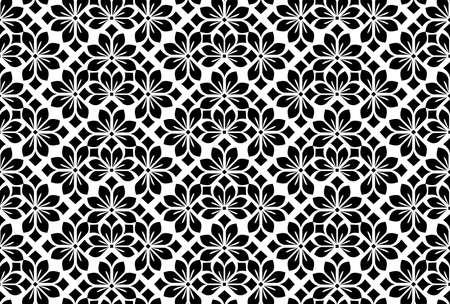 Flower geometric pattern. Seamless background. White and black ornament. Ornament for fabric, wallpaper, packaging. Decorative print Stok Fotoğraf
