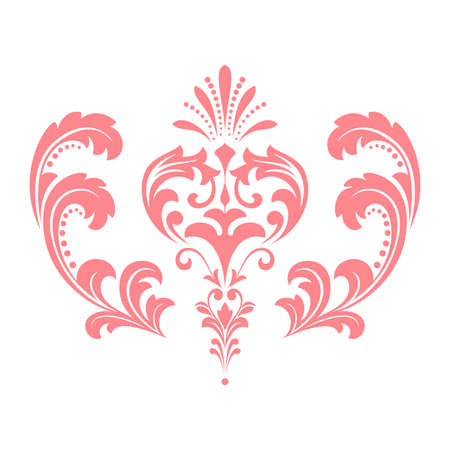 Damask graphic ornament. Floral design element. Pink pattern Stok Fotoğraf