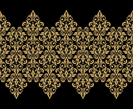 Wallpaper in the style of Baroque. Seamless background. Black and gold floral ornament. Graphic pattern for fabric, wallpaper, packaging. Ornate Damask flower ornament