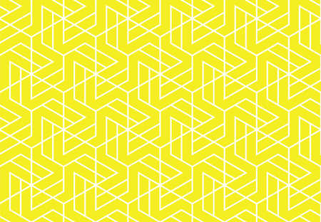 The geometric pattern with lines. Seamless background. White and yellow texture. Graphic modern pattern. Simple lattice graphic design Stok Fotoğraf