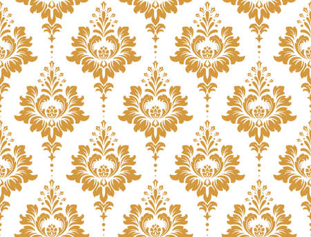 Wallpaper in the style of Baroque. Seamless vector background. White and gold floral ornament. Graphic pattern for fabric, wallpaper, packaging. Ornate Damask flower ornament Çizim