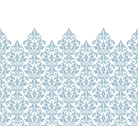 Wallpaper in the style of Baroque. Modern vector background. White and blue floral ornament. Graphic pattern for fabric, wallpaper, packaging. Ornate Damask flower ornament