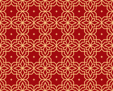 Abstract geometry pattern in Arabian style. Seamless vector background. Gold and red graphic ornament. Simple lattice graphic design