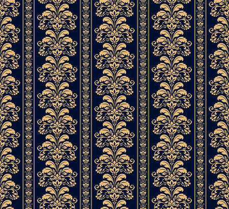Wallpaper in the style of Baroque. Seamless vector background. Gold and dark blue floral ornament. Graphic pattern for fabric, wallpaper, packaging. Ornate Damask flower ornament