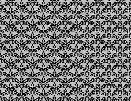Flower geometric pattern. Seamless vector background. Black and gray ornament Çizim