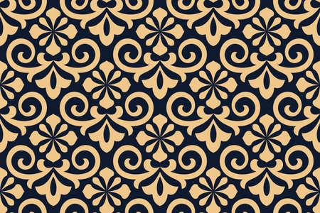 Flower geometric pattern. Seamless background. Gold and dark blue ornament Stok Fotoğraf