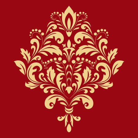 Damask graphic ornament. Floral design element. Gold and red pattern