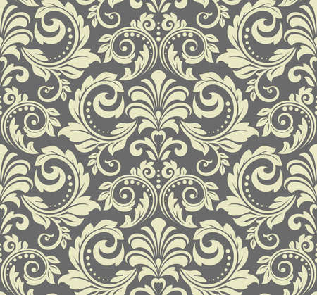 Wallpaper in the style of Baroque. Seamless background. Gray floral ornament. Graphic pattern for fabric, wallpaper, packaging. Ornate Damask flower ornament