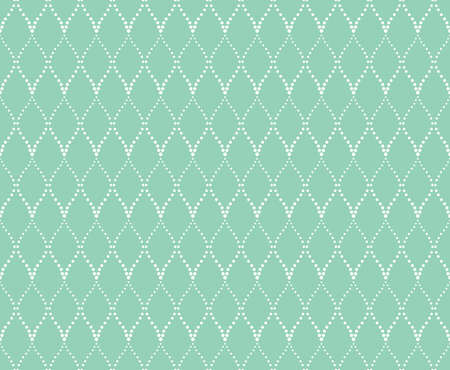 The geometric pattern with wavy lines, points. Seamless background. White and green texture. Simple lattice graphic design