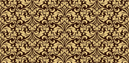 Floral pattern. Vintage wallpaper in the Baroque style. Seamless background. Dark brown and gold ornament for fabric, wallpaper, packaging. Ornate Damask flower ornament Stok Fotoğraf