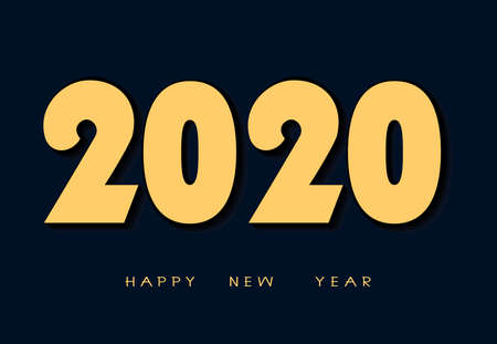 New Year illustration. 2020 year. Simple design of gold numbers on a dark blue background.