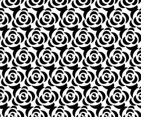 Flower geometric pattern with roses. Seamless background. White and black ornament. Ornament for fabric, wallpaper, packaging. Decorative print