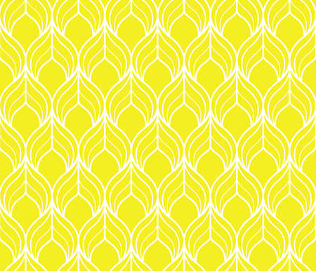 The geometric pattern with wavy lines. Seamless background. White and yellow texture. Simple lattice graphic design