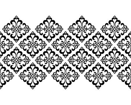 Wallpaper in the style of Baroque. Seamless background. White and black floral ornament. Graphic pattern for fabric, wallpaper, packaging. Ornate Damask flower ornament Stock fotó
