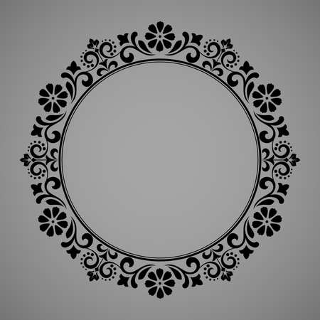 Decorative frame Elegant element for design in Eastern style, place for text. Floral blackborder. Lace illustration for invitations and greeting cards