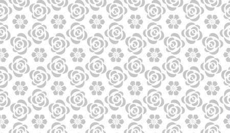 Flower geometric patternwith roses. Seamless background. White and gray ornament