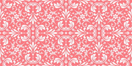 Floral pattern. Vintage wallpaper in the Baroque style. Seamless background. White and pink ornament for fabric, wallpaper, packaging. Ornate Damask flower ornament