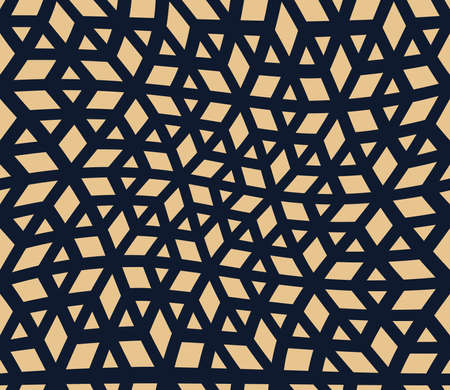 Abstract geometric pattern. A seamless background. Dark blue and gold ornament. Graphic modern pattern. Simple lattice graphic design