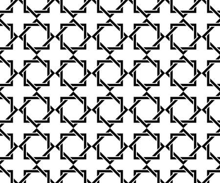 Abstract geometry pattern in Arabian style. Seamless vector background. White and black graphic ornament. Simple lattice graphic design Illusztráció