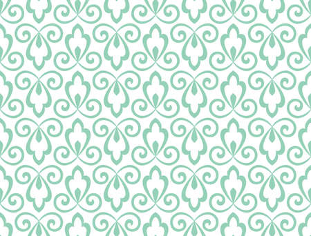 Flower geometric pattern. Seamless vector background. White and green ornament. Ornament for fabric, wallpaper, packaging. Decorative print