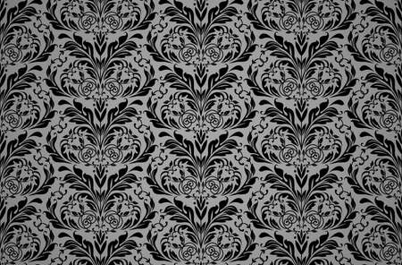 Floral pattern. Vintage wallpaper in the Baroque style. Seamless vector background. Black and gray ornament for fabric, wallpaper, packaging. Ornate Damask flower ornament Illusztráció