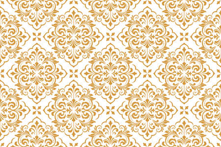 Wallpaper in the style of Baroque. Seamless vector background. White and gold floral ornament. Graphic pattern for fabric, wallpaper, packaging. Ornate Damask flower ornament Illusztráció