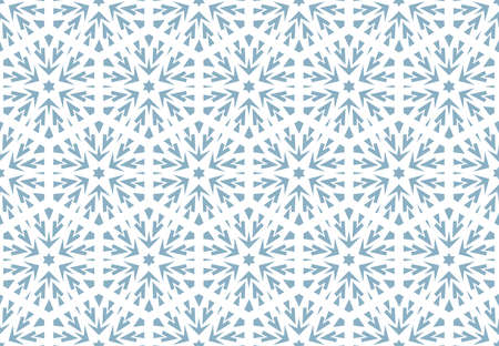 Abstract geometric pattern with lines, snowflakes. A seamless vector background. White and blue texture. Graphic modern pattern Illusztráció