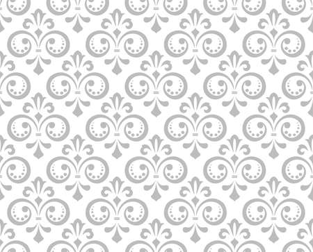 Wallpaper in the style of Baroque. Seamless vector background. White and gray floral ornament. Graphic pattern for fabric, wallpaper, packaging. Ornate Damask flower ornament. Ilustração