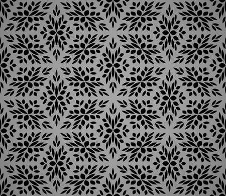 Flower geometric pattern. Seamless vector background. Black and gray ornament Иллюстрация
